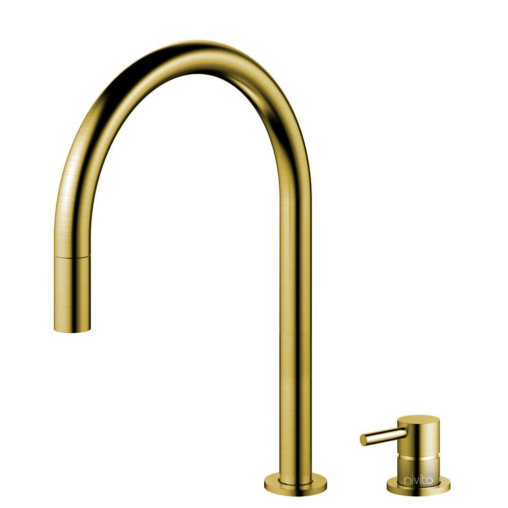Brass/Gold Kitchen Tap Pullout hose / Seperated Body/Pipe - Nivito RH-140-VI
