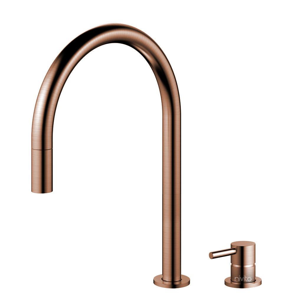 Copper Kitchen Tap Pullout hose / Seperated Body/Pipe - Nivito RH-150-VI