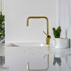 Gold brass kitchen mixer tap single lever mono tap