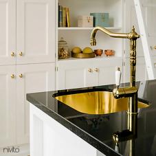 Brass/Gold Kitchen Mixer Tap - Nivito 1-CL-160