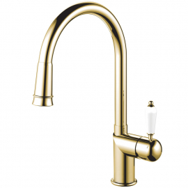 Brass/gold Kitchen Mixer Tap Pullout hose - Nivito CL-260